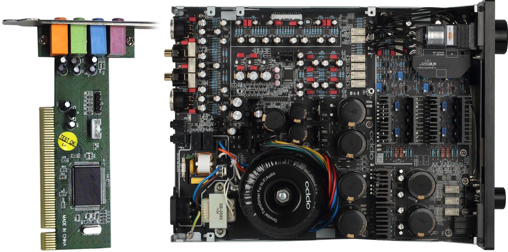 Une carte son d'ordinateur, et l'intérieur d'un DAC Audio USB