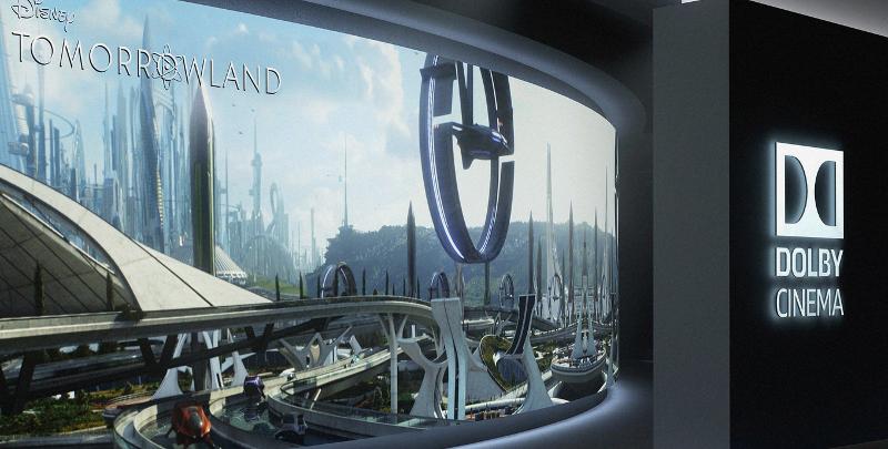 L'entrée d'un cinéma Dolby habillée pour Tomorrowland